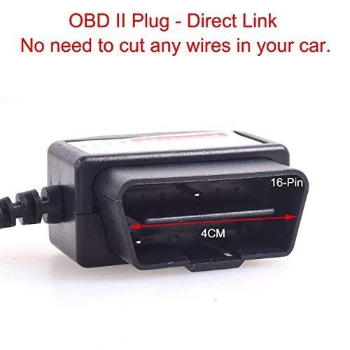 CoCar OBD2 DVR Dashcam Ladekabel Mini USB Adapter mit Schalter, 16 Pin OBDII Auto/Fahrzeug direkt zur Batterie/ Festverkabeltes Kabel Autoladegerät für PDA Handy GPS Tablette – 3M/11.5FT Draht – DC12-24V zu 5V - 2