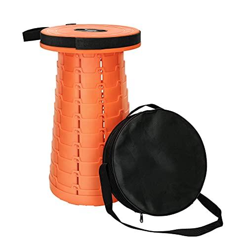 susunor Tragbare Klapphocker mit Aufbewahrungsbeutel,Höhenverstellbar 6.5 bis 45cm Leicht Klappstuhl,Belastung 250KG für Camping Wandern Angeln BBQ und Drinnen Küche Nutzen(Orangen)
