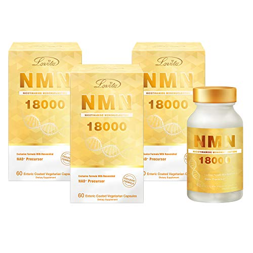 Lovita NMN 18000, NMN Supplement with Resveratrol, Nicotinamide Mononucleotide 300 mg per Capsule, High Absorption & Stabilized Form, 99% Purity, for Healthy Aging, 60 Vegetarian Capsules (Pack of 3)