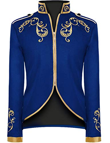 Unisex Military Blazers Prince Coats Drummer Parade Punk Officer Fitted Jackets (Blue, X-Large)