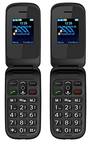 simvalley MOBILE Klapphandy: 2er-Set Notruf-Klapphandys XL-949 mit Garantruf Easy, Dual-SIM (Notruf-Senioren-Handy)