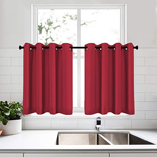 KEQIAOSUOCAI Red Curtain Tiers 36 Inch Length for Kitchen Grommet Thermal Insulated Blackout Small Curtains for Bathroom Basement Set of 2 Each is 52W x 36L