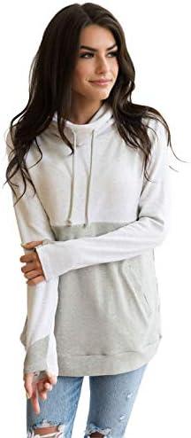 NURSING QUEEN Cowl Neck Colorblock Nursing Pullover Top Gray Light Gray M product image