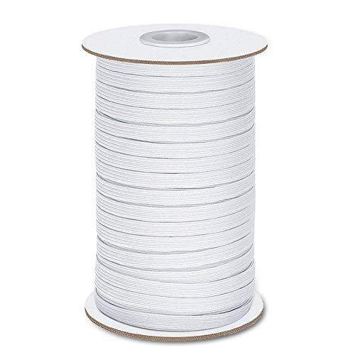 Elastische Schnur zum Nähen, 6 mm, 128 Yards, weiße elastische Schnur Faden Schnüre flach dick geflochten Stretch Band Band Band Rolle zum Nähen Handwerk DIY Tagesdecke Manschette
