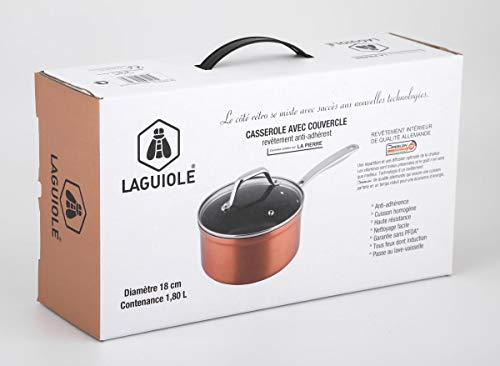 Laguiole - Cazo (18 cm, con tapa, color cobre, efecto piedra)