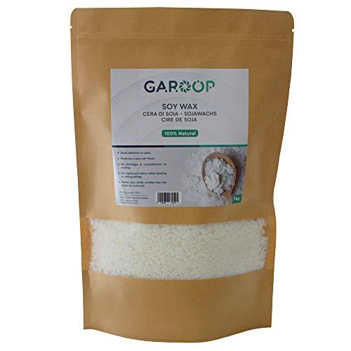 Garoop Cera di Soia 100% Naturale ed Ecologica - Produzione e Creazione di Candele - Qualità Superiore - Fiocchi 1kg / 2kg