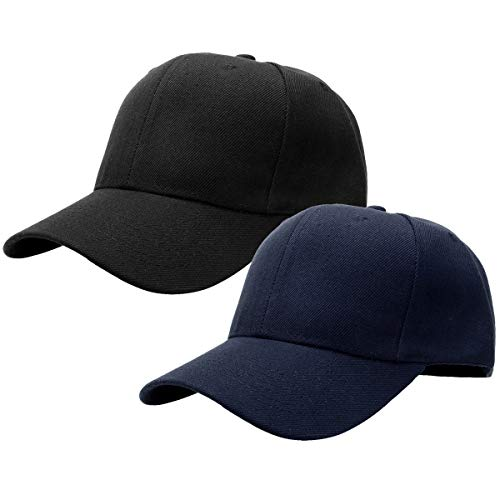 2pcs Baseball Cap for Men Women Adjustable Size Perfect for Outdoor Activities Black/Navy