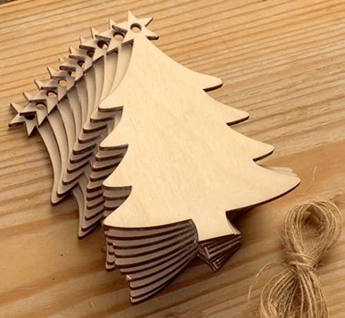 HoitoDeals Árbol de Navidad de madera MDF colgante en forma de árbol de Navidad, manualidades en blanco adornos de bolas (20 unidades)