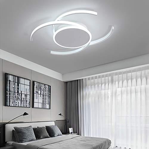 Plafón led moderna salón Minimalista lámpara de techo dormitorio creativa Araña de luces de techo redonda diseño contemporáneo anillo iluminación para comedor cocina isla estudio (D50cm, luz blanca)