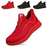 Zapatos de Seguridad Hombre Ligeros Calzado de Trabajo Mujer Punta de Acero Zapatillas Seguridad Transpirables Comodo Rojo 43