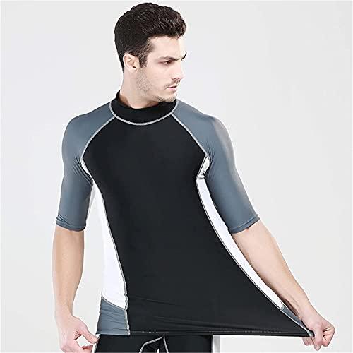 Moda Camiseta de navegación de manga corta y pantalones cortos de natación Hombres Protección solar Traje de baño Rash Guard Man Hombre UPF 50+ traje de baño (Color : Tops, Size : XXL)