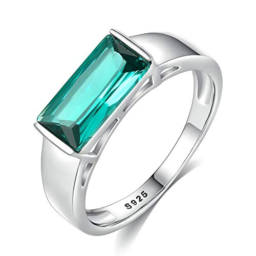 Aartoil Womens 925 Sterling Silver Ring | Blue Rectangular Cut Cubic Zirconia Wedding Bands for Women Girls Silver Size N 1/2