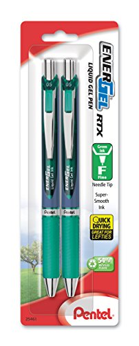 Pentel EnerGel RTX Retractable Gel Ink Pen, (0.5mm), Needle Tip, Fine Point, Green, Pack of 2 (BLN75BP2D)