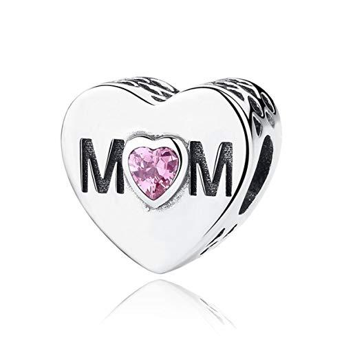 "NINGAN""I Love Mother(Ich Liebe Mutter)""CorazónAbaloriosCharmparaMujerPlatadeLey925CorazonCharmCon5ACirconitaCompatibleConPulserasPandora&Europeo (Rosa Mutterherz)"