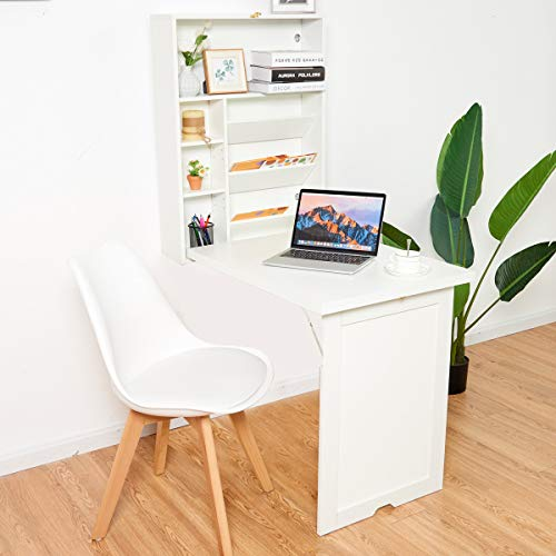 TANGKULA Wall Mounted Table, Fold Out Multi-Function Computer Desk, Convertible Desk Writing Desk Home Office Wood Convertible Desk, Large Storage Area (White)