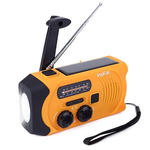Outdoor Solar Radio, IntiPal AM/FM Tragbare Notfall Radio mit Kurbel, Wetter Camping Radio,2000mAh Wiederaufladbare Powerbank,USB-Handy-Lader,LED Taschenlampe & Leseleuchte,SOS Alarm