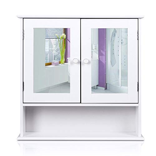 HOMFA Bathroom Wall Cabinet Multipurpose Kitchen Medicine Storage Organizer with Mirror Double Doors Shelves,White Finish