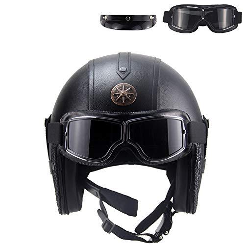 TKYZYY Retro Harley Halbhelme Motorradhelm Halbschale Oldtimer Jet-Helm Motorrad-HelmRoller-Helm Scooter-Helm Bobber Mofa-Helm Cruiser Pilot Biker Helmet, Größe 53cm bis 64 cm