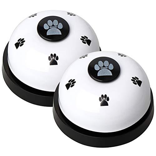 nuoshen Haokey 2 Stücke Trainingsglocken für Haustiere, Hund Türklingel Hundeglocken für Potty Katzentraining, Töpfchentraining Kommunikationsgerät mit Großem Button(Weiß)