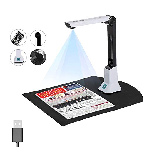 GDAFF Document Camera Book Scanner 8MP High Definition USB Portable Scanner for Office and Education Presentation, Multi-Language OCR, Capture Size A4, LED Light,USB