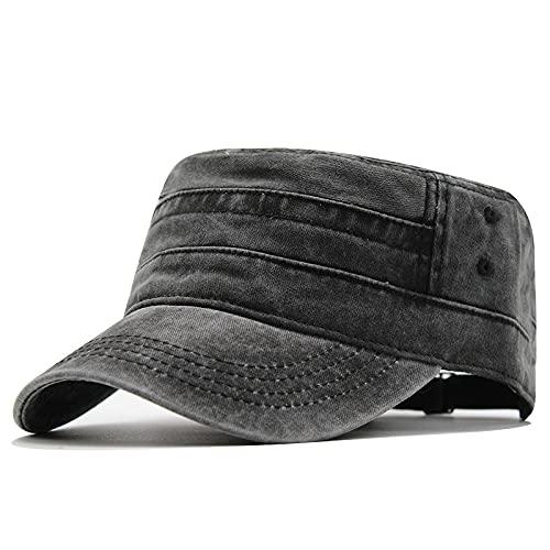 Dariobee Gorra Militar de Algodón para Hombres Vintage Ajustable Sombrero Cadete Gorra de béisbol Plana Superior Color Sólido Nostálgico Cap