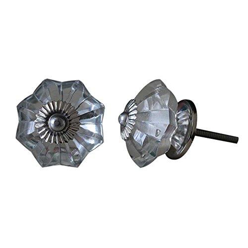 Set of 10 Handmade Glass Knobs Clear Vintage Designer Flower Shape Furniture Handle Cabinet Drawer Pull Silver Finish