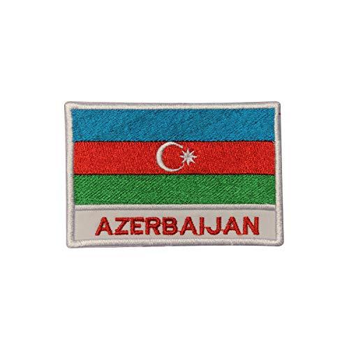 Bestickter Aufnäher mit Aserbaidschan-Flagge, zum Aufbügeln oder Aufnähen, für Kleidung etc.