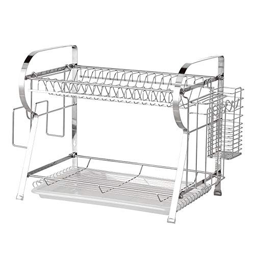Afdruiprek layer-2-laags keuken van roestvrije afvoergarnituur houder ophangen is zeer gemakkelijk te reinigen en duurzaam voor wonen, geschikt voor gebruik in wastafel