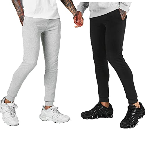 KIKFIT - Pantaloni da jogging da uomo, confezione da 2 nero/grigio XL