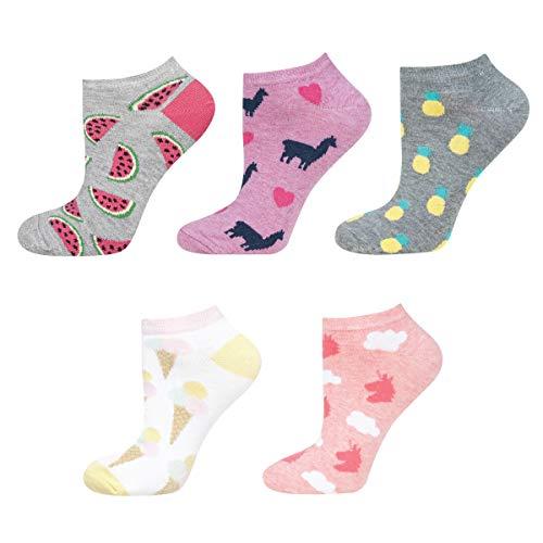 soxo Damen oder Mädchen Sneaker Socken 5 Lustige Verschiedene Motive | Füsslinge Söckchen für Frauen | Grössen 35-40 … (set_1)