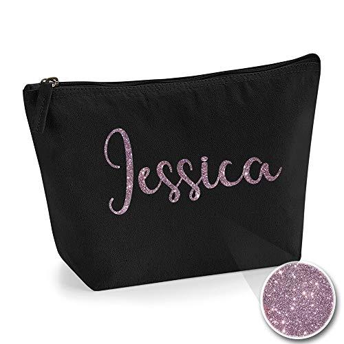 Personalisiert Name Initialen Kosmetiktasche Damen Schminktasche für Handtasche Makeup Tasche - Glitter oder Flocke Material Druck - Roségold Glitter - L | Schwarz