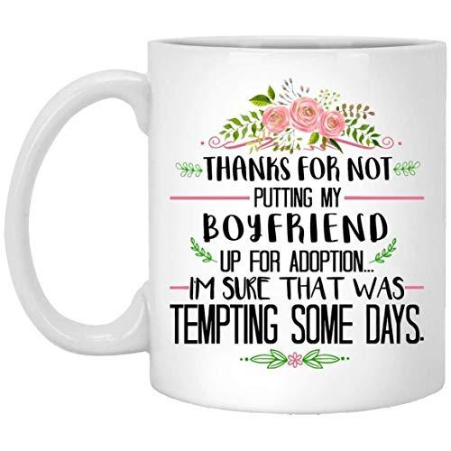 N / A Regalo para impresionar a la Suegra Gracias por Poner a mi Novio en adopción Taza de café - Blanco Regalo para un Amigo Suegra Suegro Aniversario de Bodas Cumpleaños de Navidad Día de la Madre