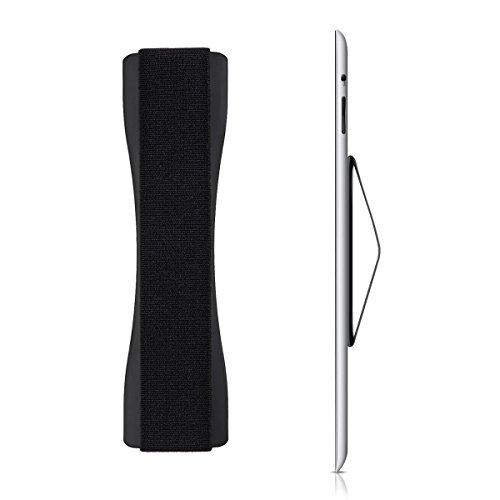 kwmobile Agarrador de móvil para Mano - Sujeción Adhesiva con Goma elástica - Agarre Universal Compatible con eBook iPad Smartphone Tablet - Negro