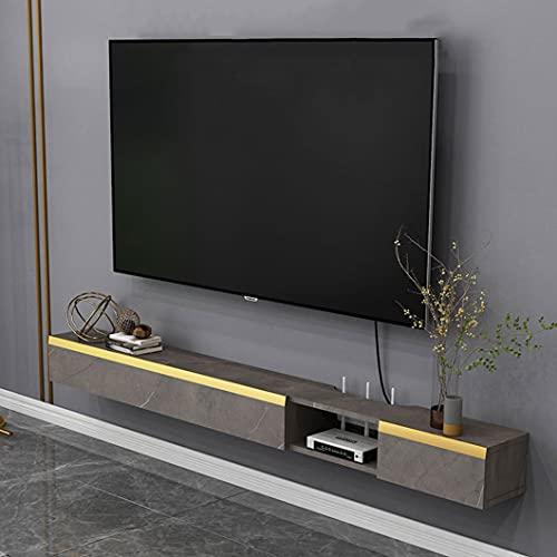 Consola de TV flotante Soporte de TV montado en la pared Estante de componentes Consola multimedia Estante de pared flotante Aparador de escritorio Consola de TV colgante con 2 puertas de gabinete