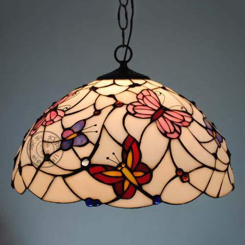 W&HH Luz de Techo, lámpara Colgante de Vidrio de Estilo Tiffany de 17 Pulgadas con Pantalla Hecha a Mano, Adecuado para Sala de decoración