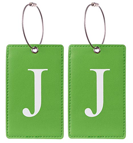 2 Pack Initial Luggage Tag Green by Gostwo Fully Bendable Tags Stainless Steel Loop (J)