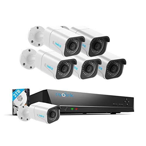 Reolink H.265 4K PoE Security Camera System, 6pcs 8MP Wired PoE IP Cameras, 8CH NVR Recorder with 2TB HDD, Home Business Surveillance Kit for Outdoors/Indoors, 100ft Night Vision, RLK8-800B6