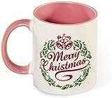 Taza de café de cerámica divertida - Feliz Navidad con arte de patrón de árbol de nieve para hombres / Día de San Valentín / Cumpleaños / Vasos navideños-rosa-patrón2