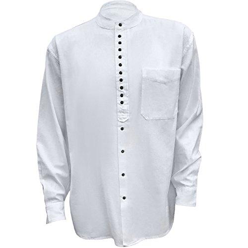 Civilian Irish Grandfather Collarless Shirt - Cotton/Linen Blend (White, M)