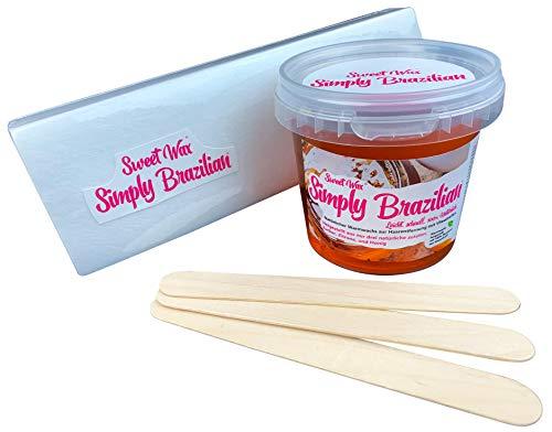 439g Sweet Wax Simply Brazilian Gold zur Enthaarung mit Vlies. Natürlicher Brazilian Wax aus nur Zucker, Honig und Zitrone. Sugaring Zuckerpaste Perfekt für Bikini Wax