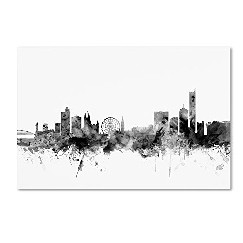 Manchester England Skyline B&W by Michael Tompsett, 30x47-Inch Canvas Wall Art