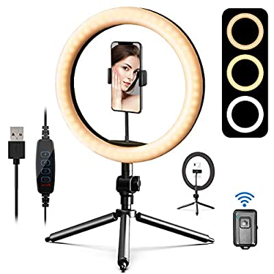 """10"""" Selfie Ring Light with Tripod Stand & Cell Phone Holder & Remote Shutter for Live Stream/Makeup, Daugee LED Circle Lamp Dimmable Desk Makeup Ring Light for Photography,Make up,Live Stream from Daugee"""