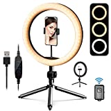 10' LED Ring Light, Daugee Selfie Circle Light with Tripod Stand & Phone Holder & Camera Remote Shutter for Live Streaming YouTube Tiktok Video, Dimmable Desk Makeup Ring Light for Photography