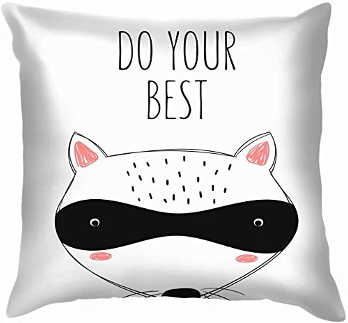 計算可能主流商業のポスターかわいい落書きアライグマ子供動物野生動物動物投げ枕カバーホームソファクッションカバー枕ギフト45×45センチ