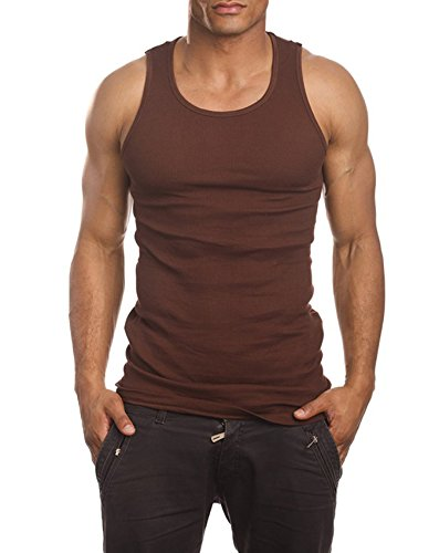 Herren A-Shirt, Muskel-Tanktop, für Fitnessstudio, Training, super dick, 3er-Pack (S, Braun)