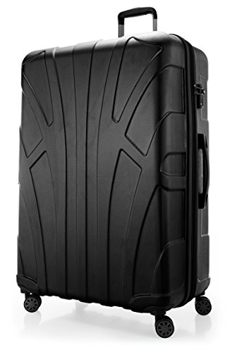 SUITLINE - Maleta rígida giratoria, Trolley, 4 rudeas, ABS extremista Ligero, TSA, 85 cm, 160 litros, Negro