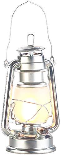 Lunartec LED Sturmlampe: LED-Sturmlaterne mit Flammen-Effekt, 25 cm Höhe, silberfarben (Laterne LED)