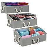 Sorbus Storage Bins [3-Pack] Fabric Storage Baskets, Foldable Closet Organizer Trapezoid Storage Box (Grey)