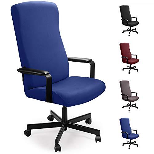 Eckonaver Bürostuhl bezug Bürostuhlabdeckung Stuhlhussen Drehstuhl Bezug Moderne Stuhl Überzug Sessel Cover Elastische Waschbar Stuhlhussen Set für die Bürostuhl Computer Schreibtischstuhl (Blau, L)