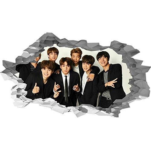 Adhesivo de Pared con efecto 3D Breakthrough Autoadhesivo Bts Korean Boysband 15.7x23.6inch(40x60cm) Etiqueta Engomada de la Pared del Cuarto de baño Etiqueta Engomada de DIY del Refrigerador